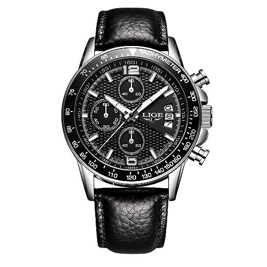a382733856ad Relojes para Hombres LIGE 2018 Reloj de Reloj de Cuero Cuarzo Regalos de  Moda Correa de