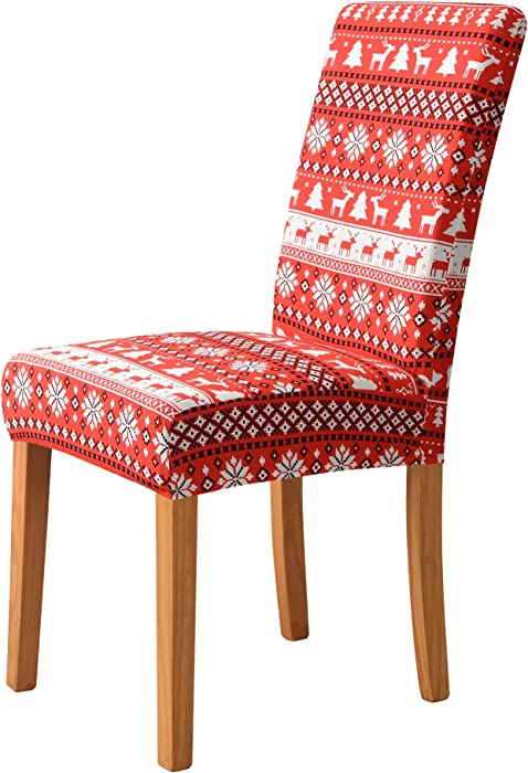 MILARAN Christmas Dining Chair Cover, Soft Stretch Chair Slipcover for Dining Room, Kitchen, Washable Removable Parson Chair Protector for Holiday Decoration, Home Décor, Ceremony,6 Pcs Deer-Red