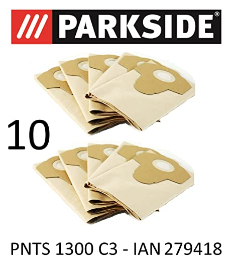 10 bolsas de aspiradora Parkside 20 L pnts 1300 C3 Lidl Ian 279418 marrón 906 –