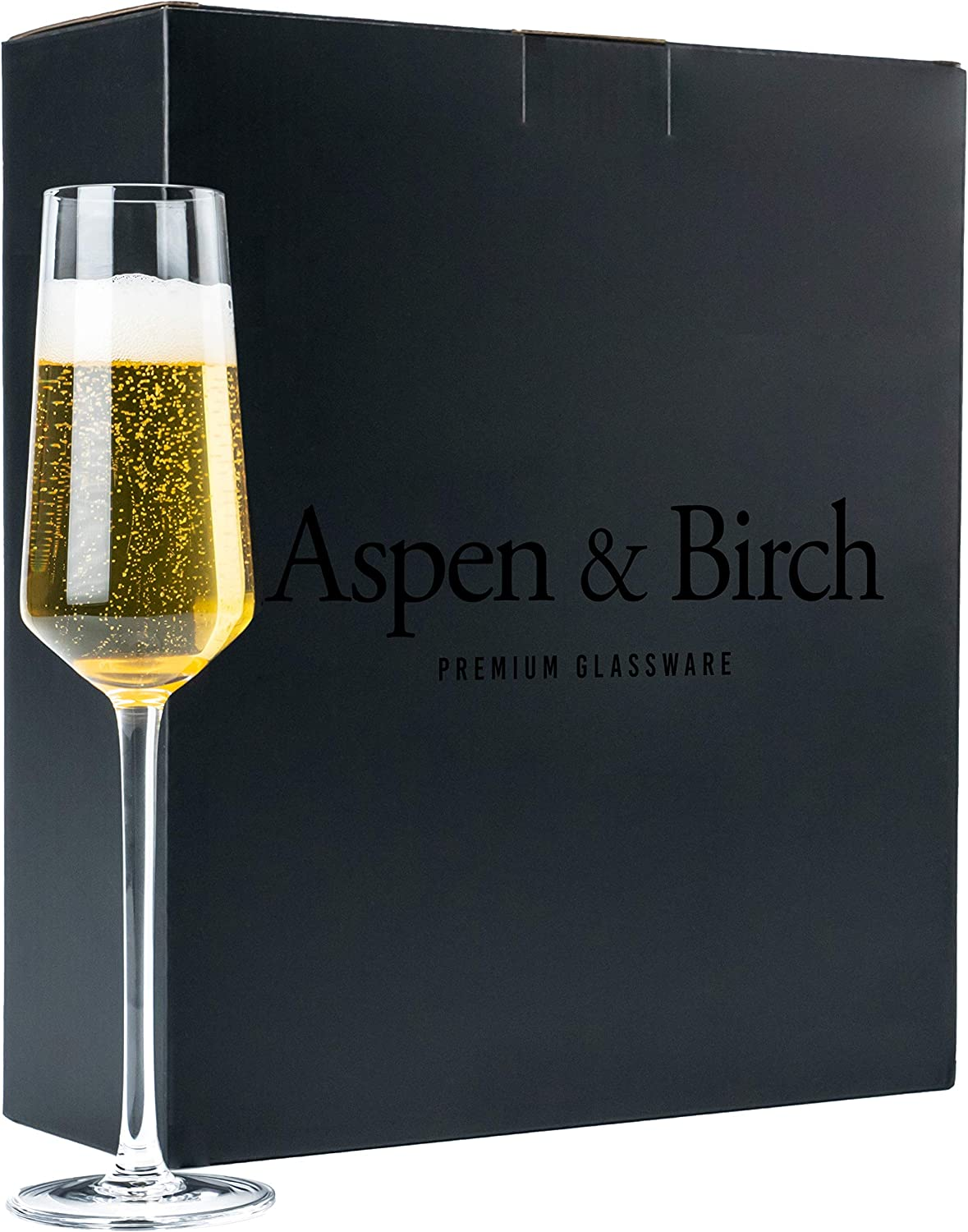 Aspen & Birch - Classic Champagne Flutes Set of 4 - Champagne Glasses - Mimosa Glasses, Premium Crystal Stemware, Clear, 6 oz, Hand Blown Glass Champagne Flutes - Hand Crafted by Artisans