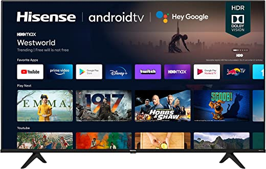 Hisense 43A6G 43-Inch 4K Ultra HD Android Smart TV with Alexa Compatibility...