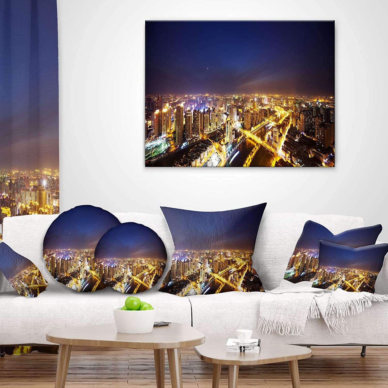 Designart Cu10997 26 26 Downtown Nighttime Panorama Cityscape Cushion Cover For Living Room Insert Printed On