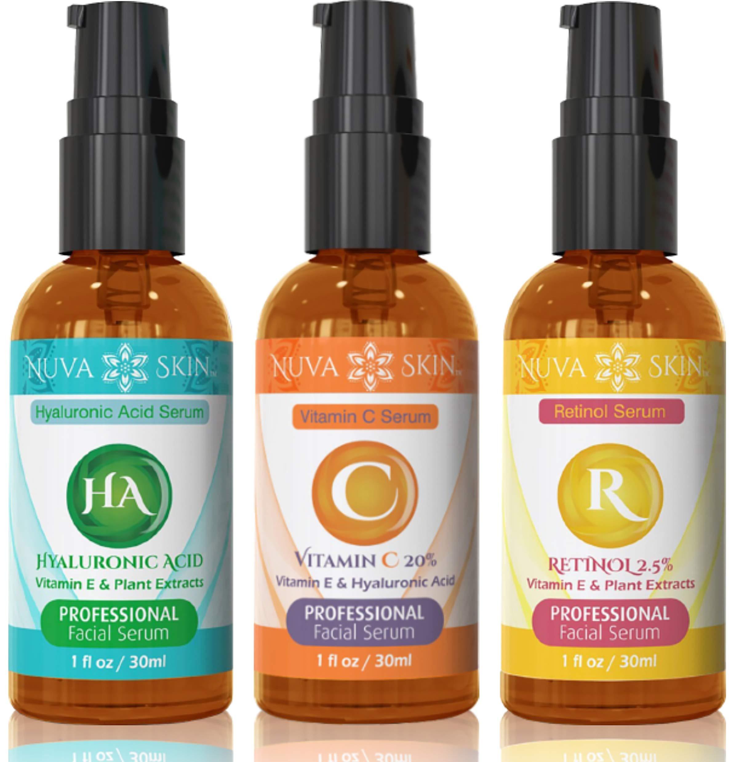 Nuva Skin Facial Serums 3 Pack- Vitamin C Serum, Retinol Serum & Hyaluronic Acid Serum- All-Natural Face Serum by Nuva Skin