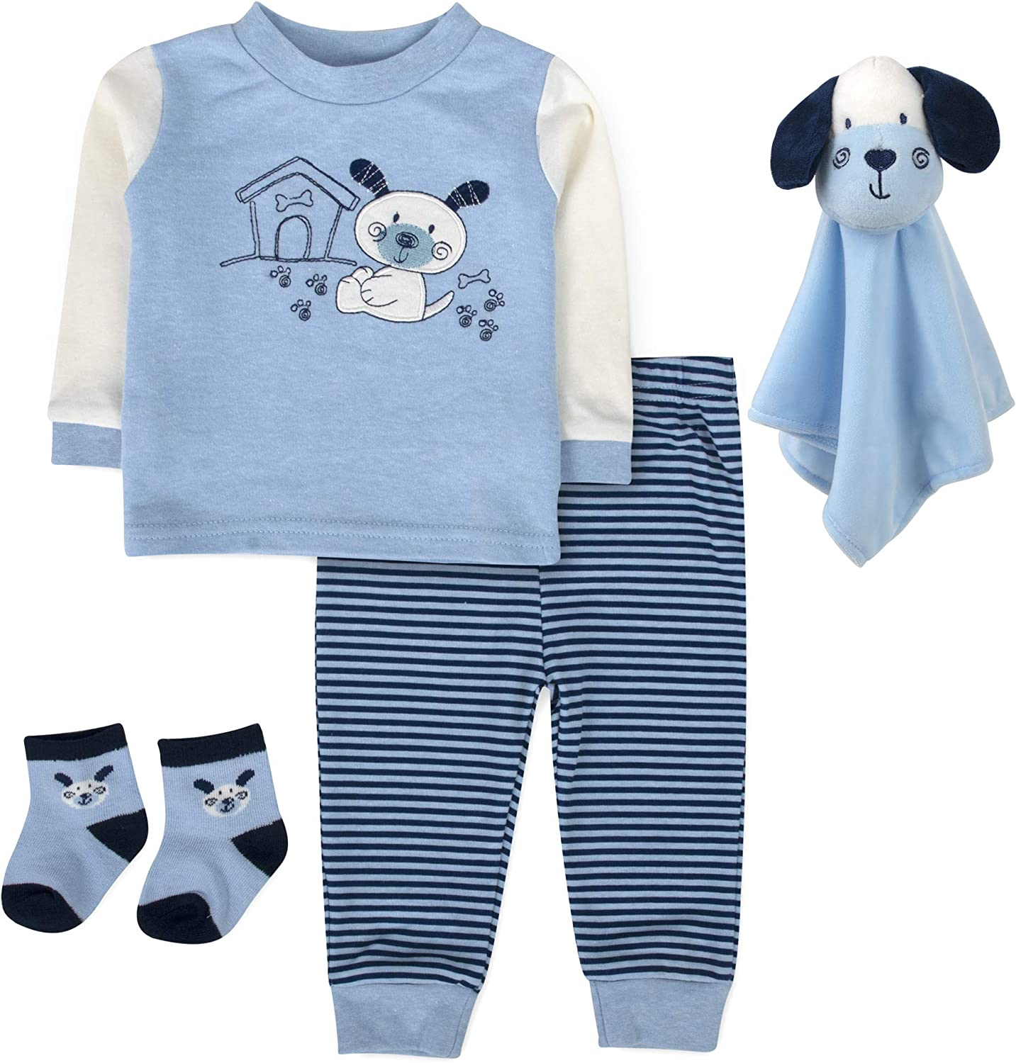 Take Me Home Outfit Baby Boy with Lovey, Baby Boy Pants, Shirt, Socks, 4 Pc Set 3-6 Months