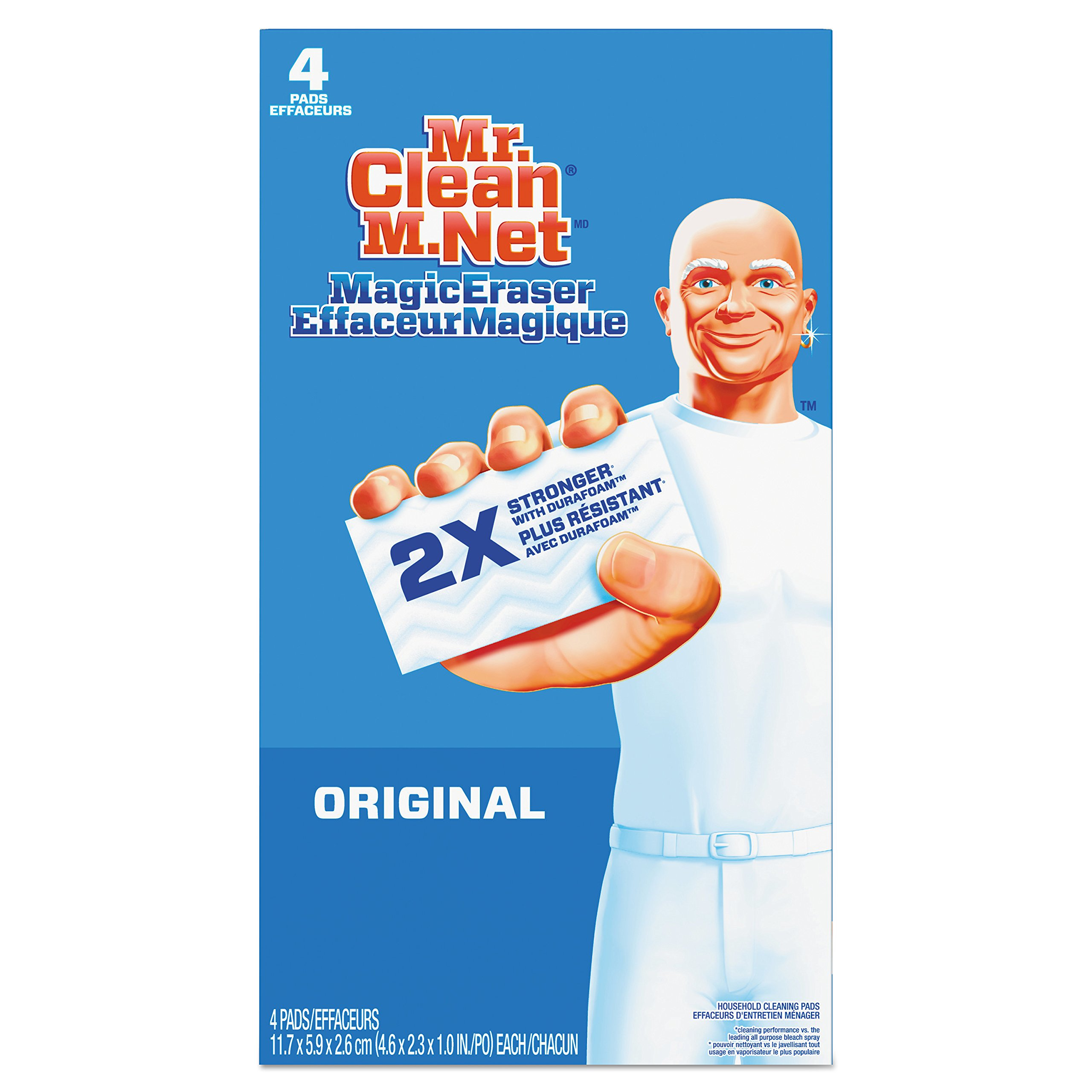 Mr. Clean 82027CT Magic Eraser - All Purpose, 2 2/5'' x 4 3/5'', 1'' Thick, White (Case of 24)
