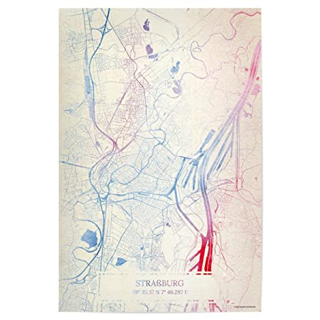 ArtboxONE Poster Cities Strasbourg France Map Rose And Serenity I - Strasbourg france map
