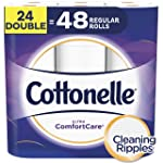 Cottonelle Toilet Paper, 24 Double Rolls, 142 Sheets Per Roll, 2-ply, Ultra ComfortCare, Soft Bath Tissue, Biodegradable...