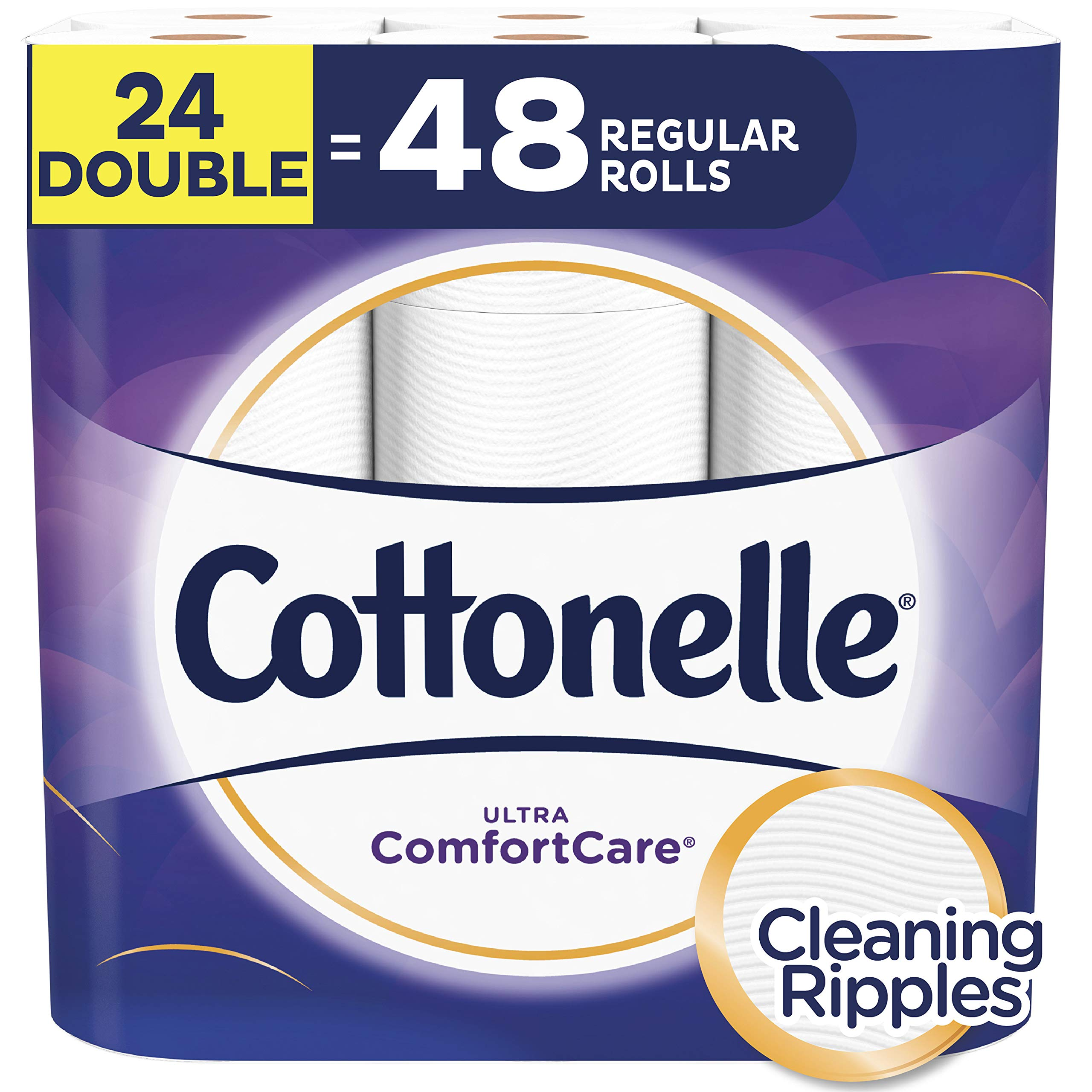Cottonelle Ultra ComfortCare Toilet Paper, Soft Biodegradable Bath Tissue, Septic-Safe, 24 Double Rolls by Cottonelle