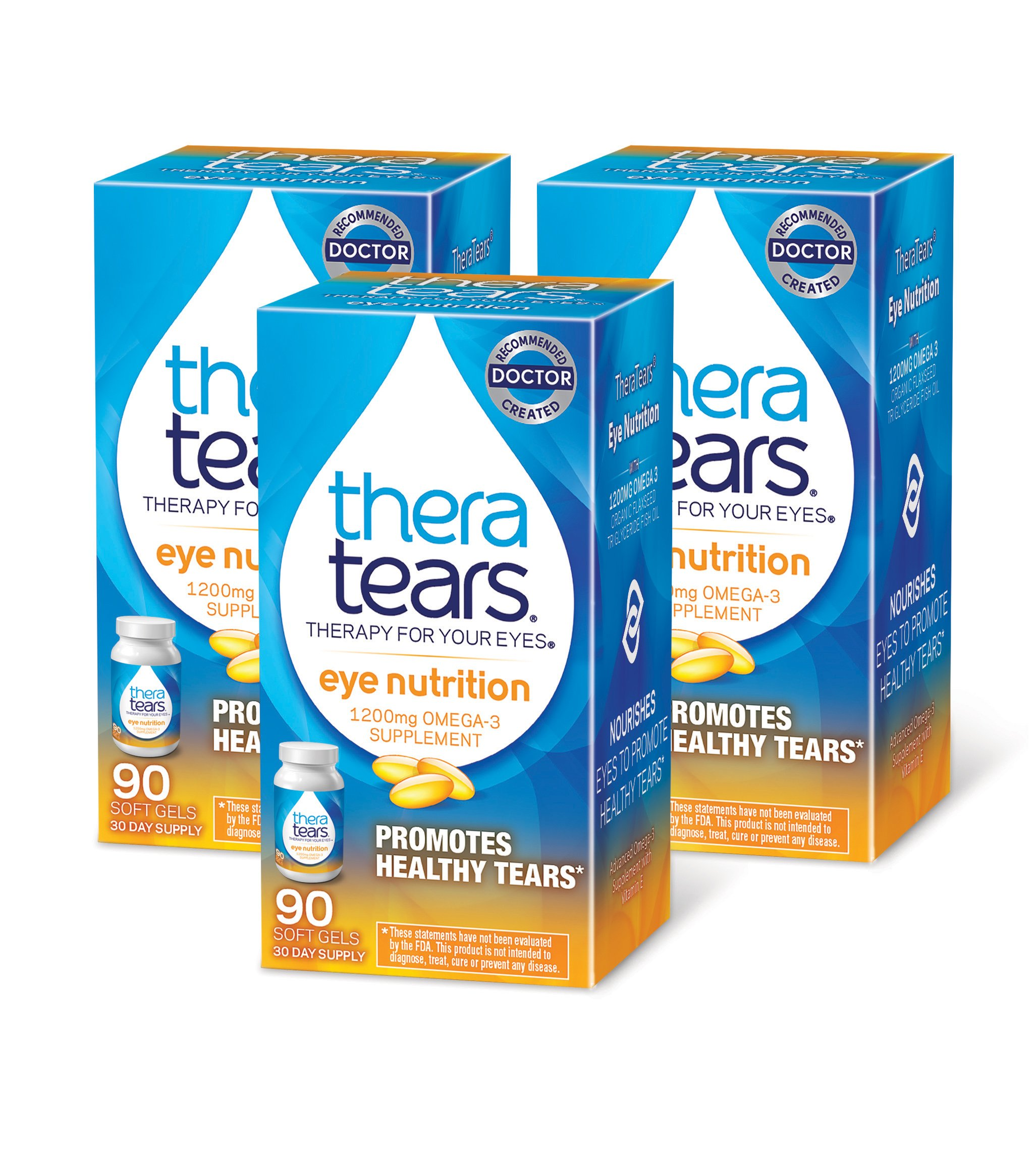 TheraTears 1200mg Omega 3 Supplement for Eye Nutrition, Organic Flaxseed Triglyceride Fish Oil and Vitamin E, 90 Count, 3 Pack