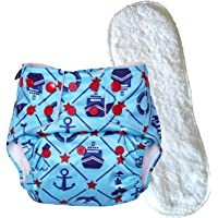 superbottoms Basic Certified Soft Fleece Lined Anchor Print Adjustable Pocket Diaper with 1 Wet-Free Insert with Snaps (One Size, 4 Sizes in 1, 5-17 kg)