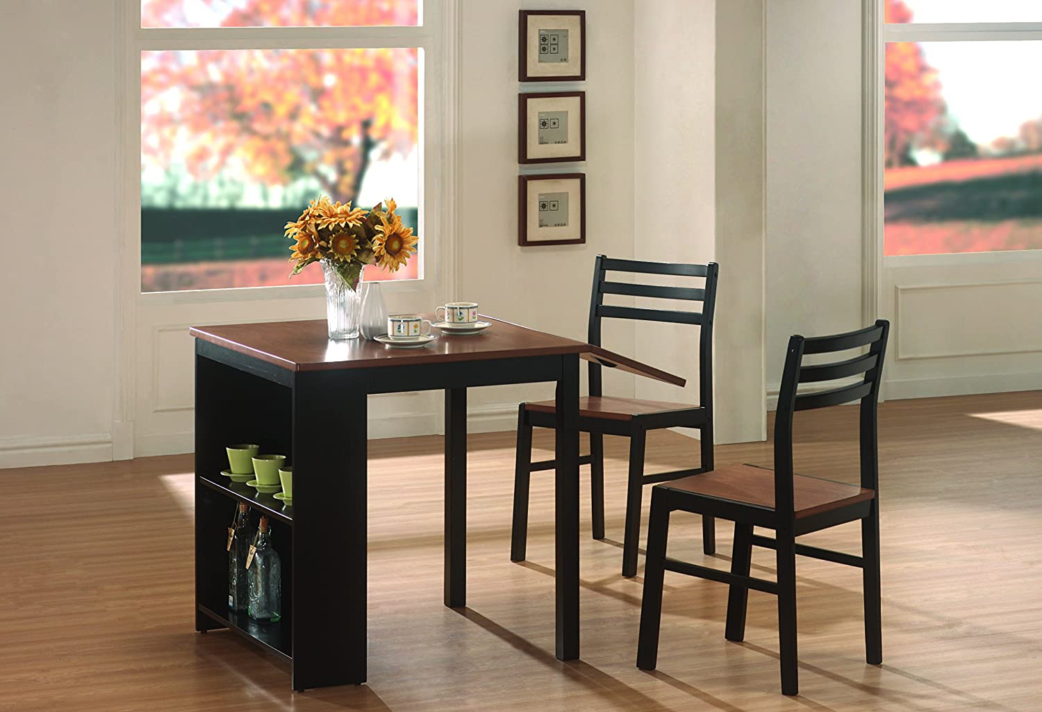 amazon com coaster home furnishings 130015 casual dining room 3 amazon com coaster home furnishings 130015 casual dining room 3 piece set walnut and black table chair sets