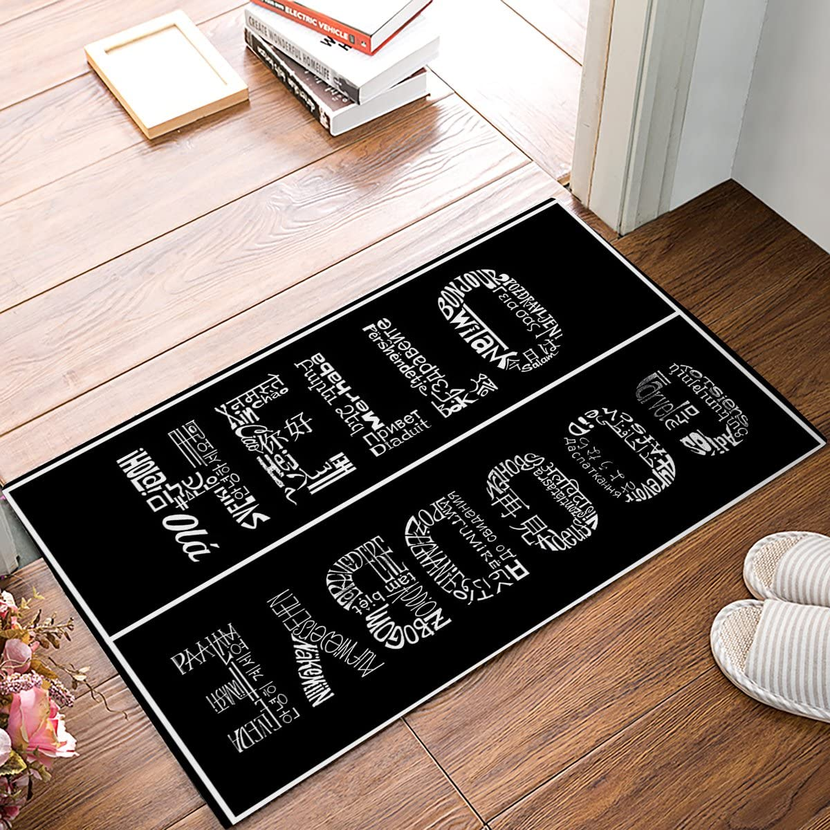 Funny Waterproof Bathroom Doormat Home Decor Welcome Large Mat Entrance Way Indoor Carpet Floor Rugs 30x18 Inch, Hello and Goodbye Black by Olivefox