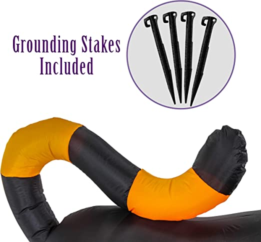 Pouncing Indoor Outdoor Lawn Blow Up Haunted House Party Halloween Haunters 6 Foot Long Inflatable Scary Black Cat Yard Prop Decoration Animated Rotating Turning Shaking Head Flashing Red LED Eyes