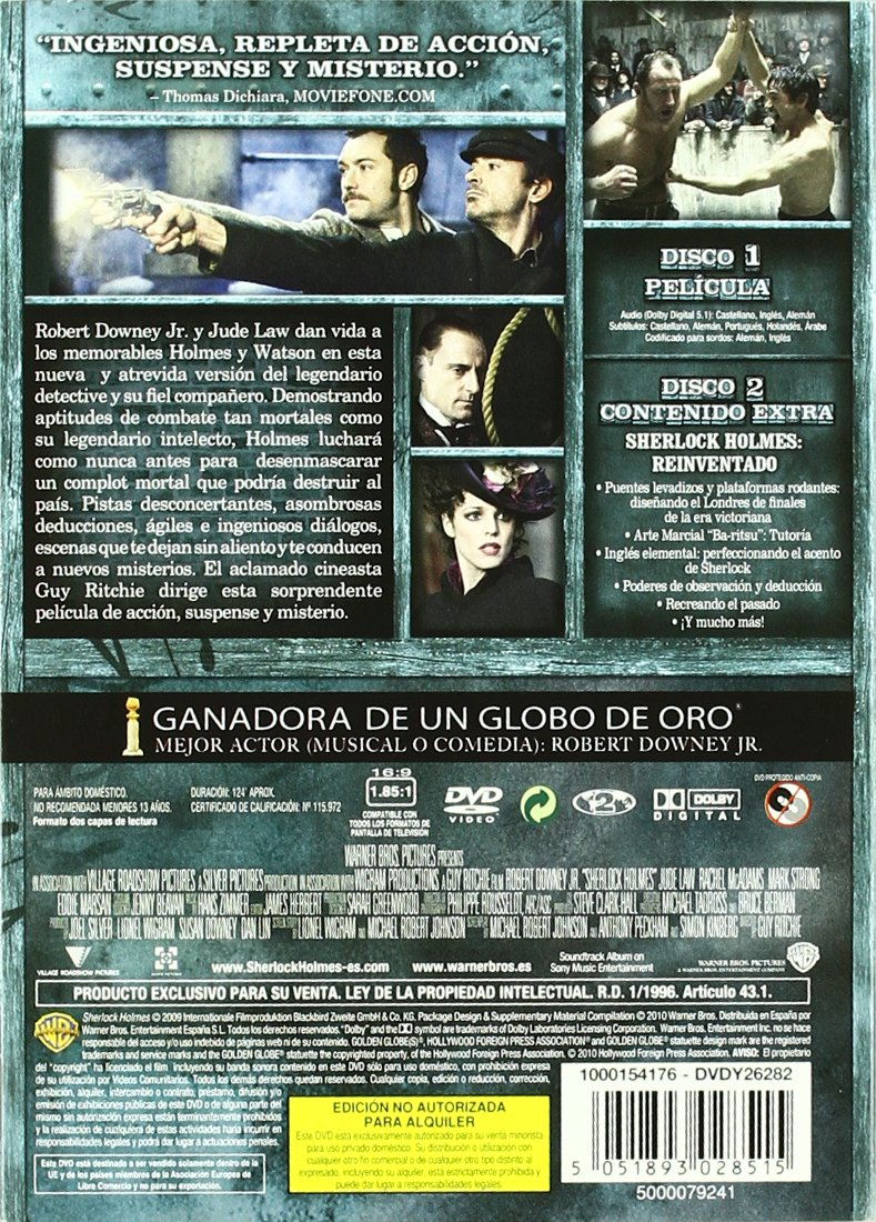 Amazon.com: Sherlock Holmes (Ed.Esp.) (Import Movie) (European Format - Zone 2) (2010) Hans Matheson; Jude Law; James F: Movies & TV