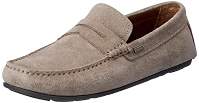 730b7f1aff TOMMY HILFIGER Men's Classic Suede Penny Loafer Flats, Grey: Amazon ...