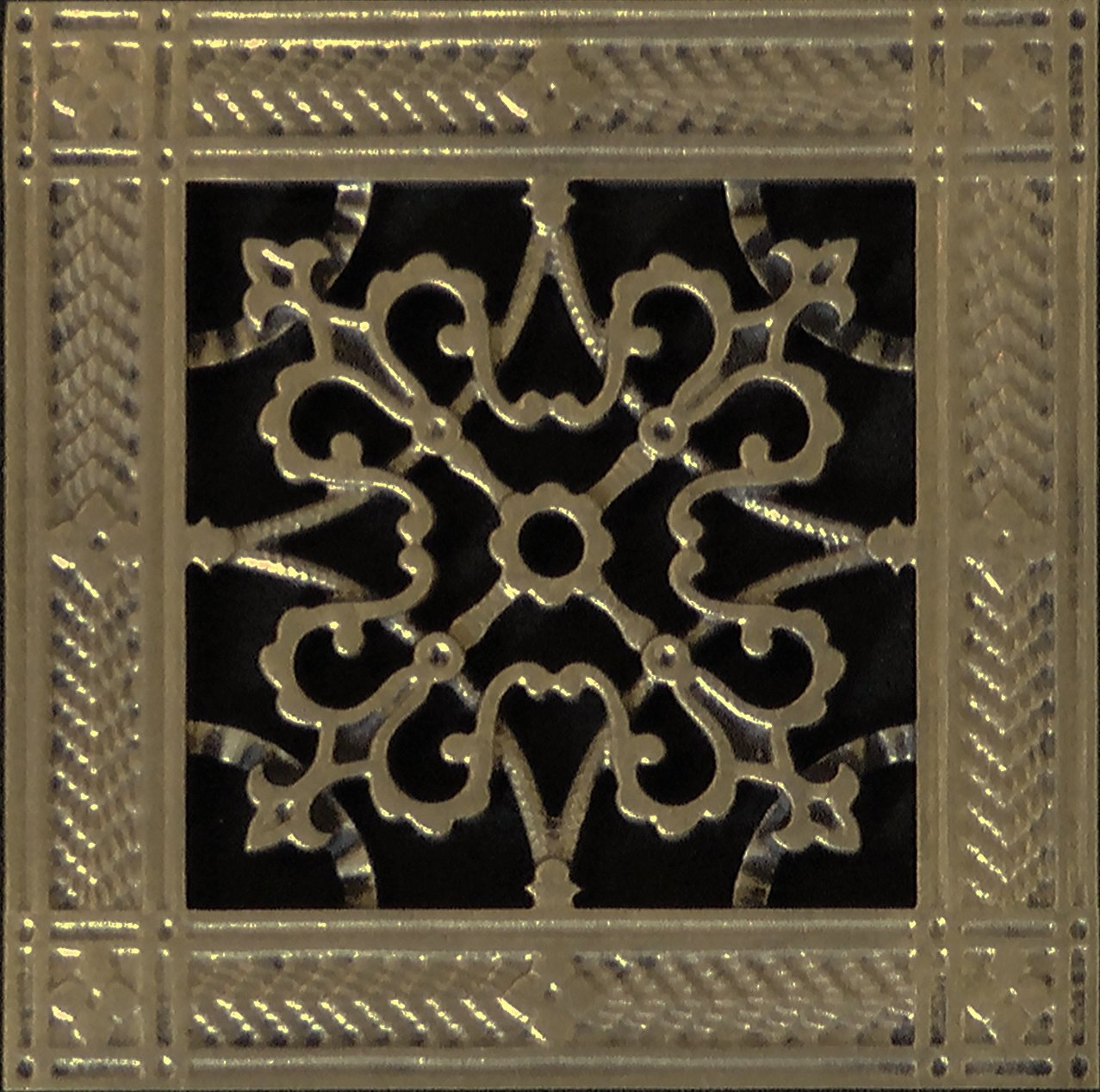 Decorative Grille, Vent Cover, or Return Register. Made of Urethane Resin to fit over a 6''x6'' duct or opening. Total size of vent is 8''x8''x3/8'', for wall and ceiling grilles (not for floor use).