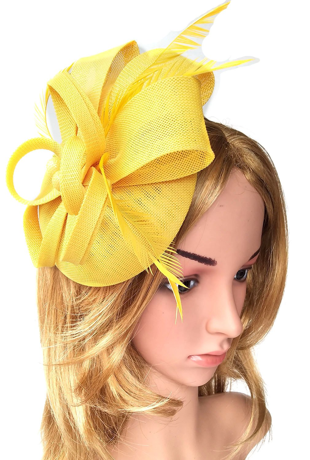Biruil Women's Fascinator Hat Imitation Sinamay Feather Tea Party Pillbox Flower Derby (Yellow) by Biruil (Image #2)