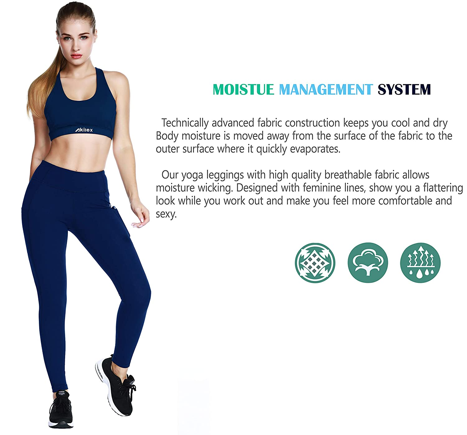Akilex High Waisted Leggings for Women Tummy Control Workout Yoga Pants Leggings with Pockets 4 Way Stretch