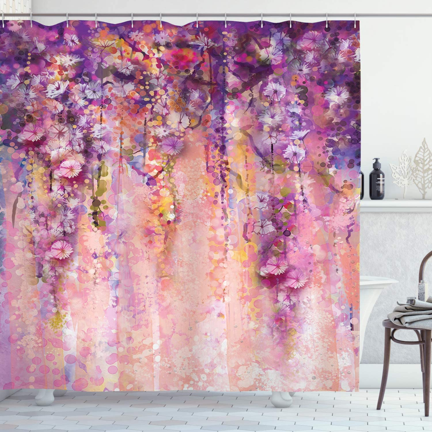 Purple Shower Curtain Violet Tree Blossoms Print for Bathroom