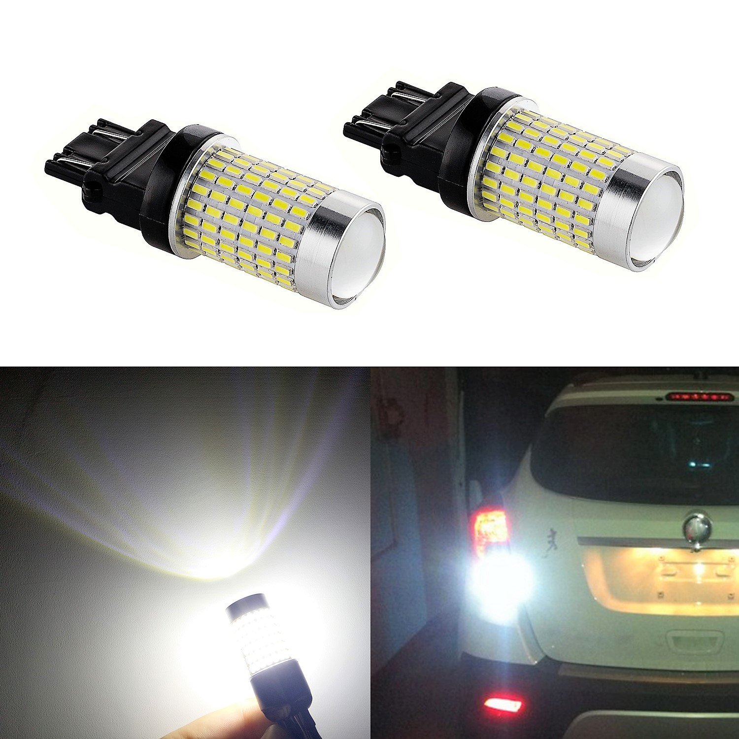 XSPEED 3157 3156 LED Light Bulb 2600 Lumens Extremely Bright 144 SE-Chipsets 3047 3057 3457 LED Bulbs with Projector Xenon White For Reverse Backup Lights 3157-144LW