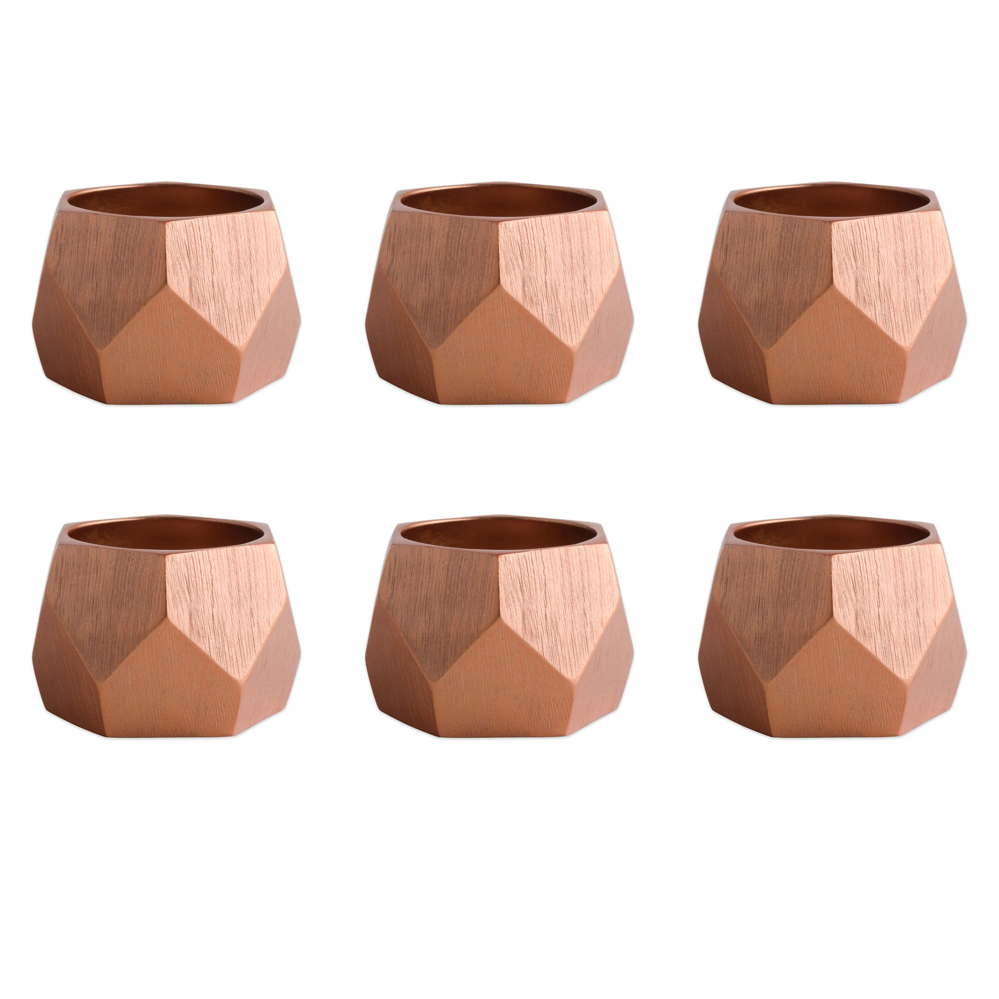 DII Contemporary Chic Napkin Rings for Dinner Parties, Weddings Receptions, Family Gatherings, or Everyday Use, Set Your Table With Style - Copper Geometric Triangle Band, Set of 6