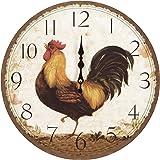 Yosemite Home Decor CLKA6726 Circular Wooden Wall Clock Multi