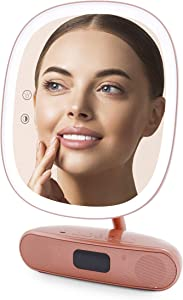 Impressions Vanity Melody Duotone Makeup Mirror with Bluetooth Speaker, Girls Lighted 180 Degree Rose Gold Vanity Magnifying Mirror and USB Charger