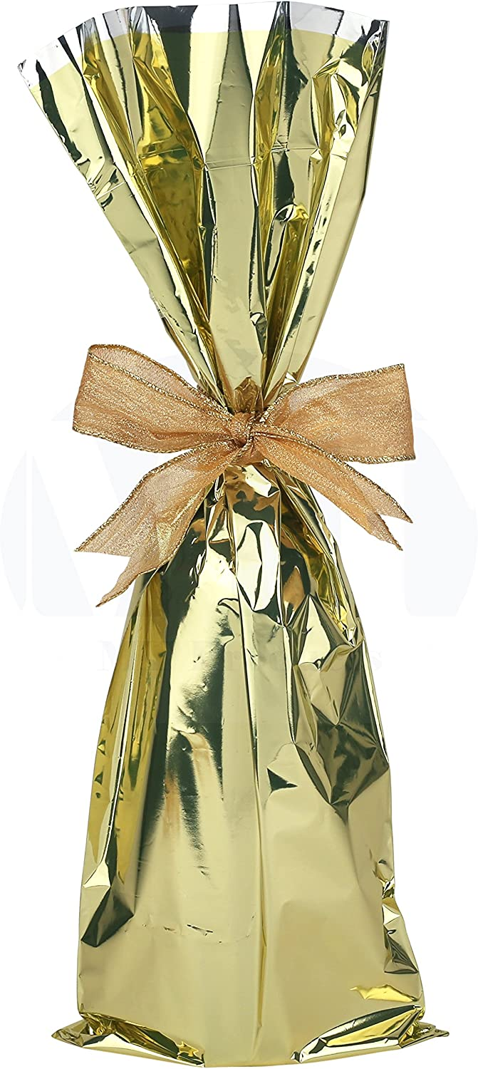Metallic Mylar Wine Gold Gift Bags for Bottles by MT Products-Sparkle Look- Great for a Wine Pull - Made in The USA (25 Pieces)
