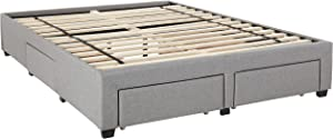 DG Casa Cosmo Upholstered Platform Bed Frame Base with Storage Drawers, Queen Size in Grey Linen Style Fabric