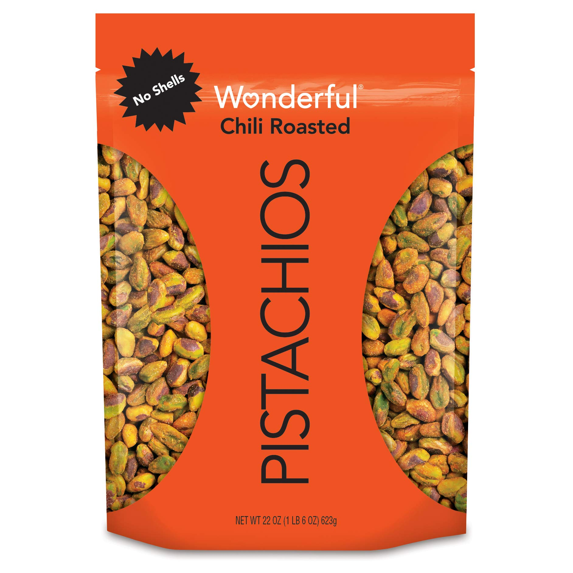 Wonderful Pistachios, No Shells, Chili Roasted, 22 Oz Resealable Bag by Wonderful Pistachios & Almonds