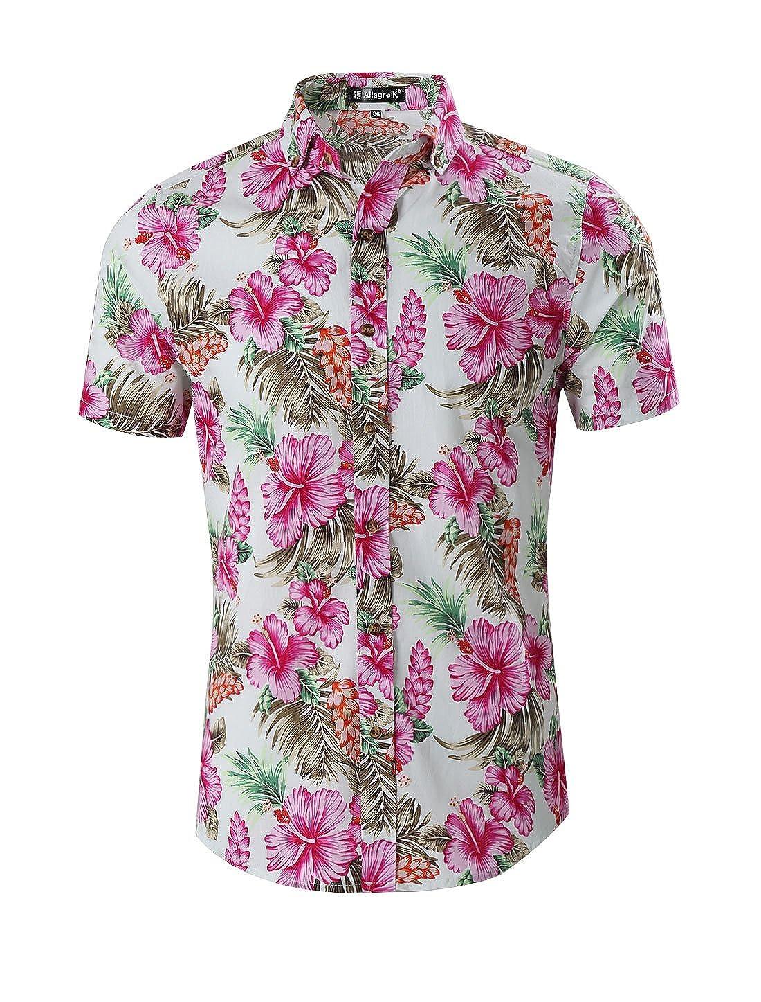 731790196721 uxcell Men Slim Fit Floral Print Short Sleeve Button Down Beach Hawaiian  Shirt g14061300ux0003