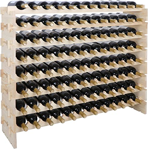 ZENY Large 96 Bottles Wood Wine Rack Stackable Storage Across up to 8 Rows Solid Wooden Display Shelves Rack Organizer