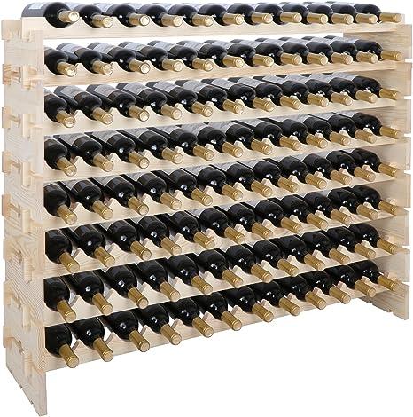 Amazon Com Smartxchoices 96 Bottle Modular Wine Rack Stackable Wine Storage Rack Free Standing Floor Wine Holder Display Shelves Solid Wood Wobble Free 96 Bottles Home Kitchen