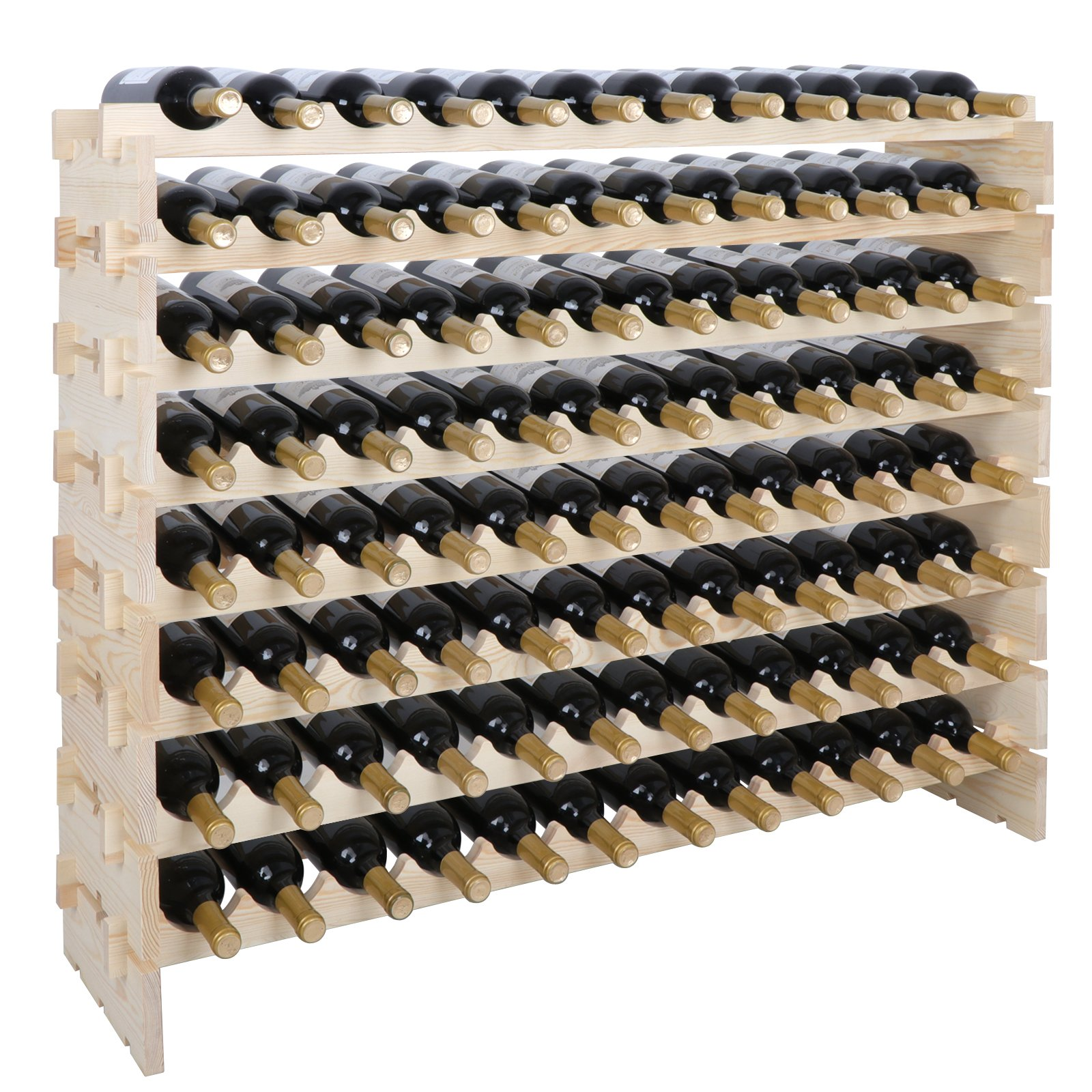Smartxchoices 96 Bottle Stackable Modular Wine Rack Wooden Wine Storage Rack Free Standing Wine Holder Display Shelves, Wobble-Free, Solid Wood, (8 Row, 96 Bottle Capacity) (96 Bottle)