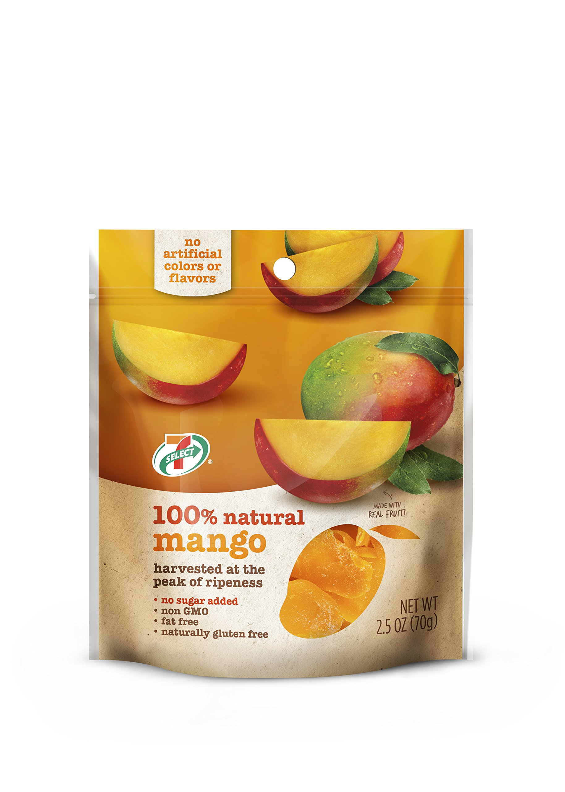 7-Select Natural Dried Mango (No Sugar Added) 6-2.5 Ounce Bags