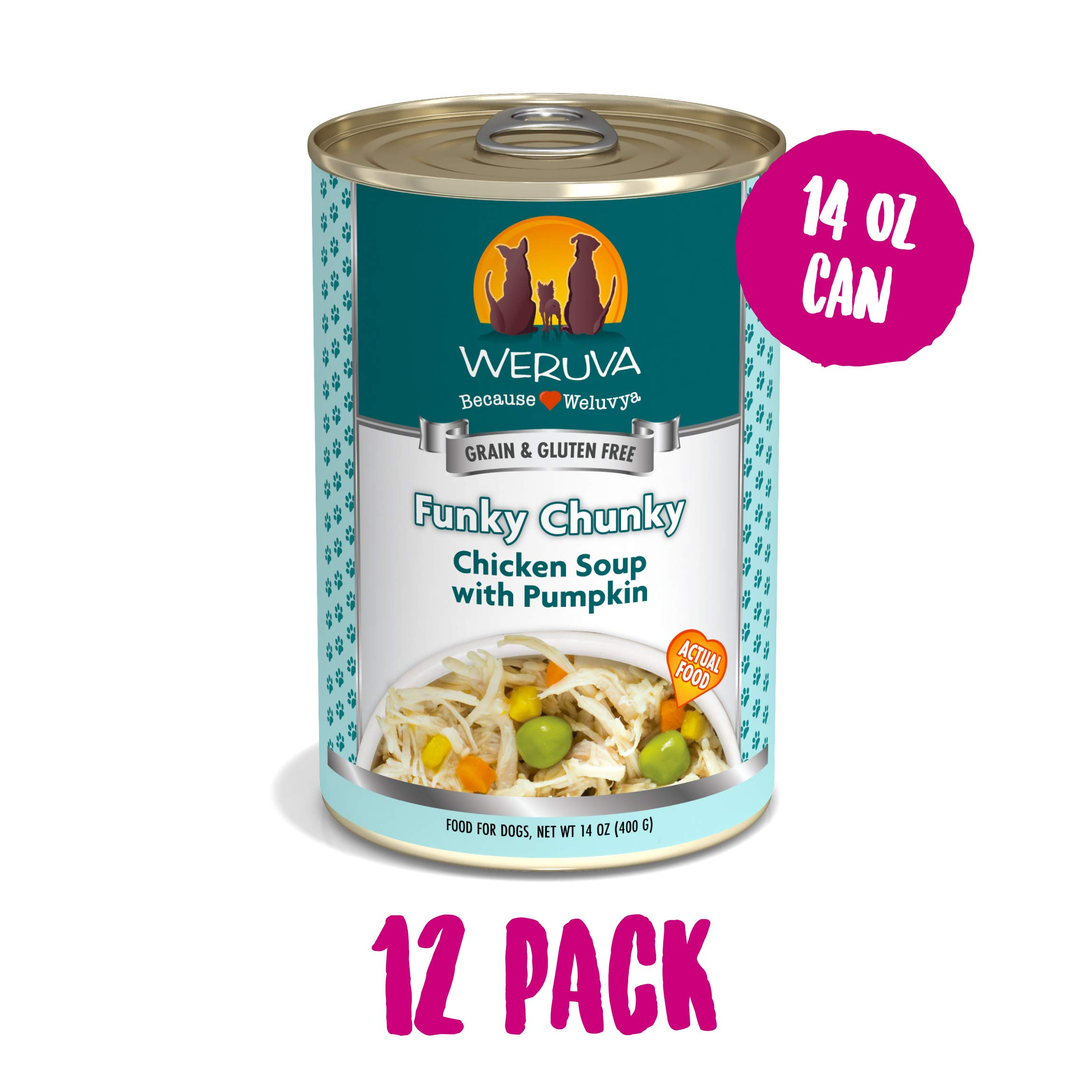Weruva Classic Dog Food, Funky Chunky Chicken Soup with Chicken Breast & Pumpkin in Gravy, 14oz Can (Pack of 12) by Weruva
