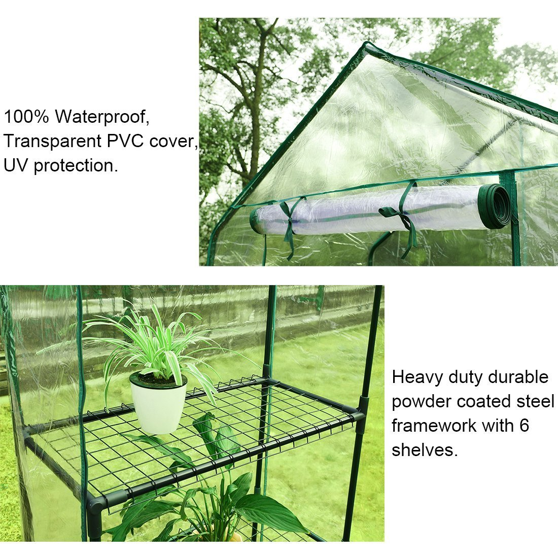 Quictent Greenhouse Mini Walk-in 3 tiers 6 shelves 102lbs Max Weight Capacity Portable Plant Garden Outdoor Green House 56''x29''x77'' by Quictent (Image #2)