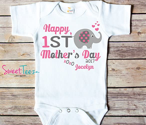 Amazon happy first mothers day elephant baby girl bodysuit happy first mothers day elephant baby girl bodysuit gift for mom personalized for baby gift for negle Image collections