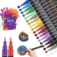 Acrylstiften voor stenen, 18 kleuren, voor het schilderen van stenen, permanente markeerstiften, acrylstiften voor…