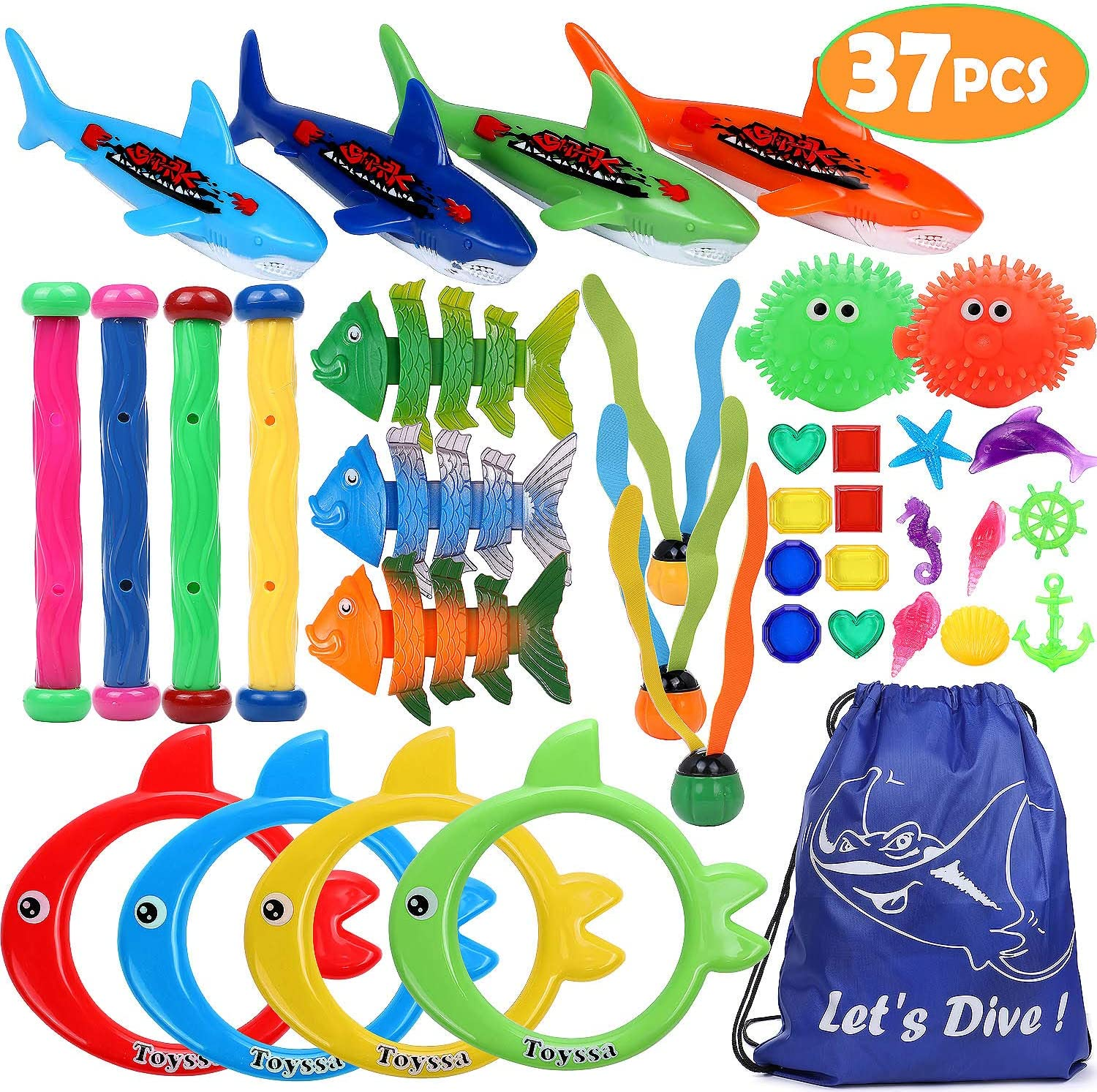 37 PCS Diving Toys Underwater Swimming Pool Toy Diving Rings, Diving Sticks, Diving Fish, Diving Sharks, Diving Seaweeds, and Diving Gems Under Water Games Training Gift for Kids Boys Girls