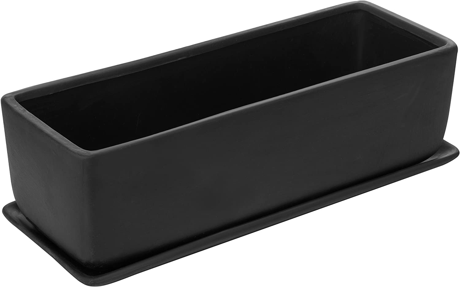 MyGift 14-Inch Rectangular Modern Ceramic Succulent Planter Pot, Window Box with Saucer, Matte Black