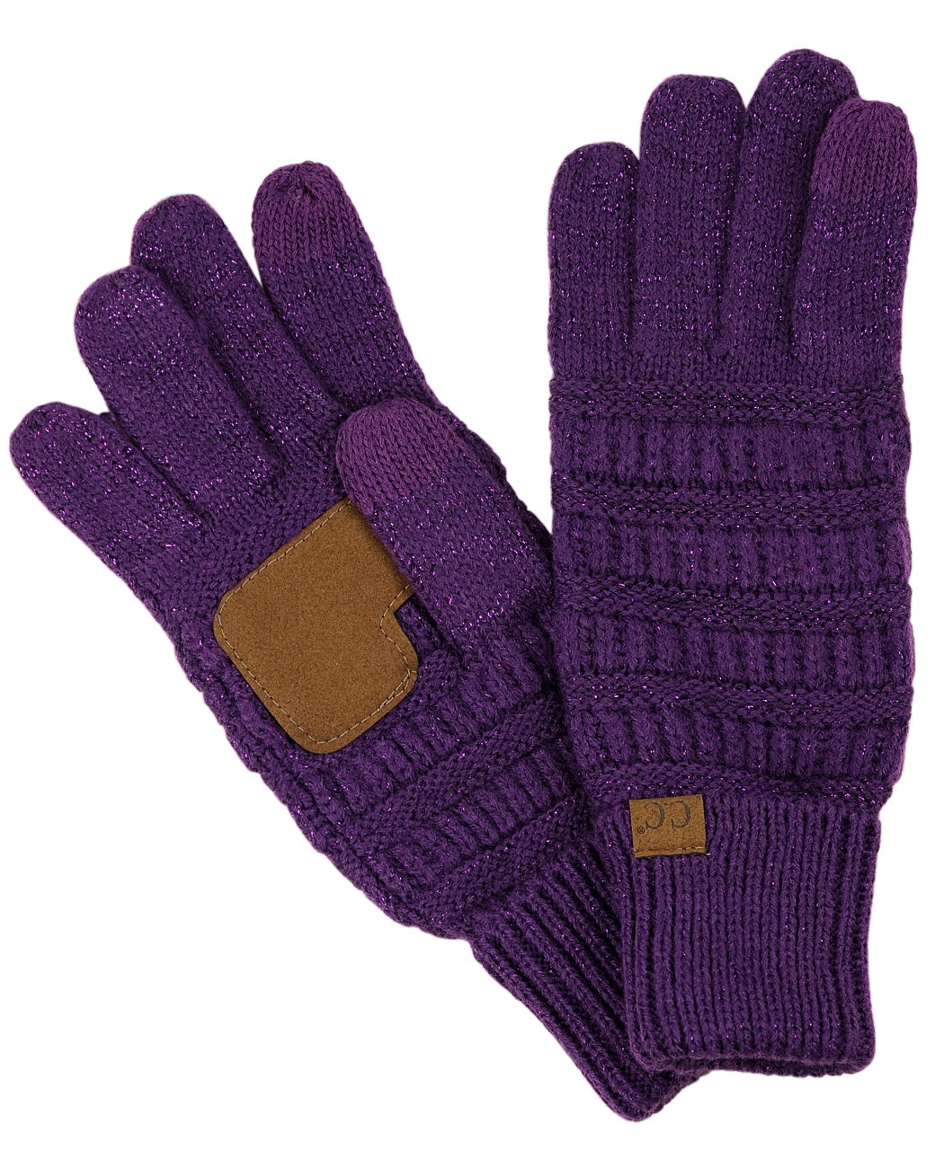 C.C Unisex Cable Knit Winter Warm Anti-Slip Touchscreen Texting Gloves, Purple Metallic