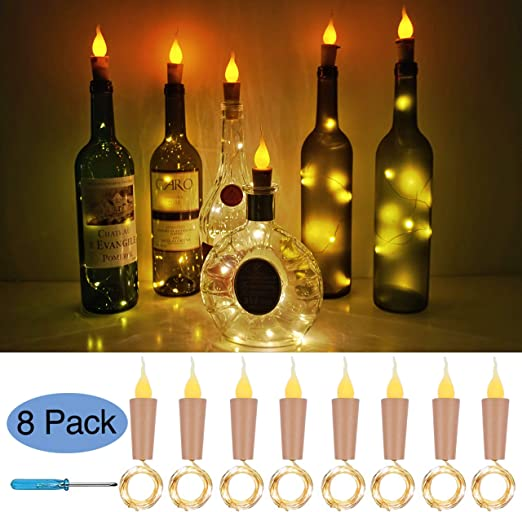 Brand New Set Of 3 Glass Bottles With 12 LED Lights Battery Powered