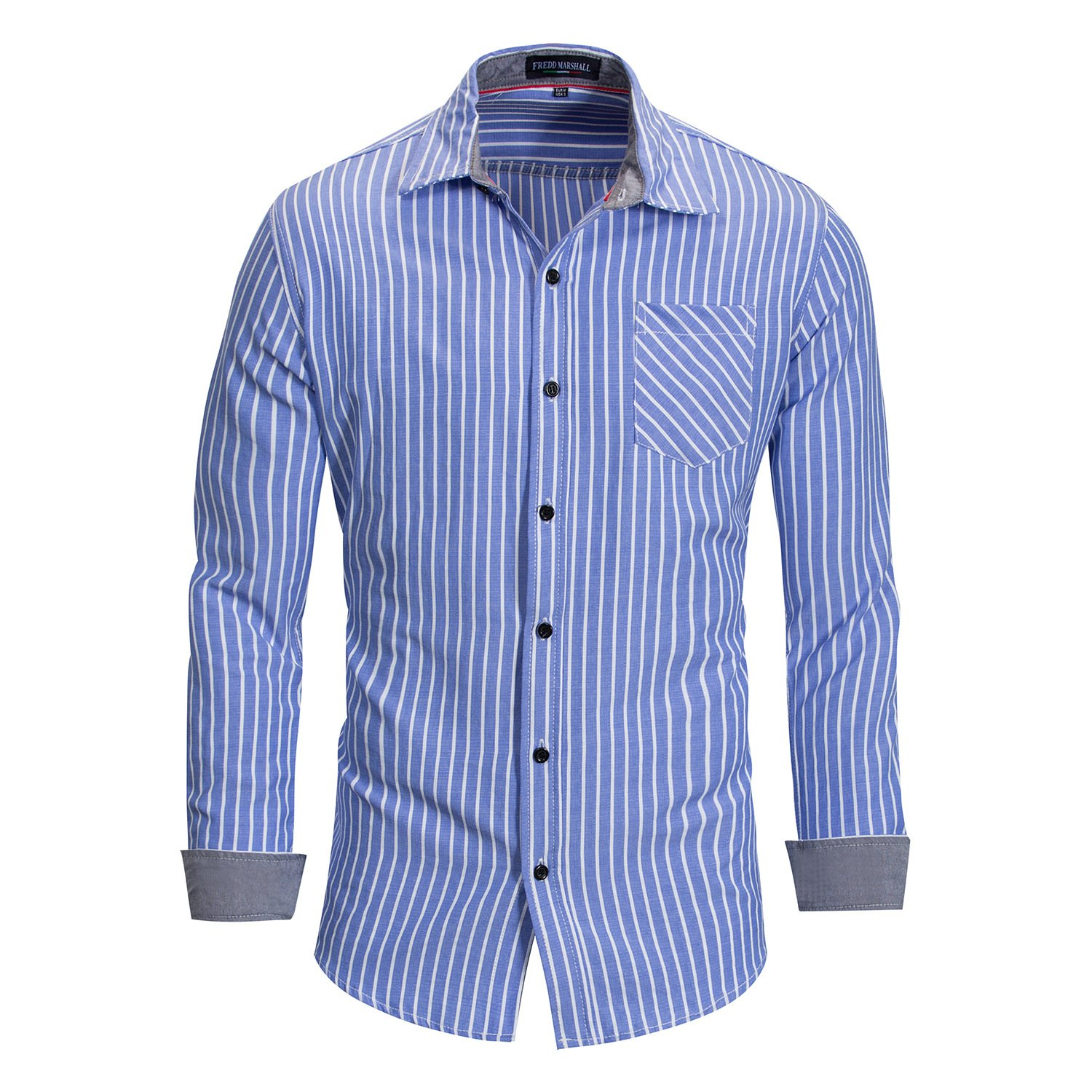 JJCat Mens Button-Down Collar Long Sleeve Cotton Design Thin Stripes Classical Style Work Casual Shirts