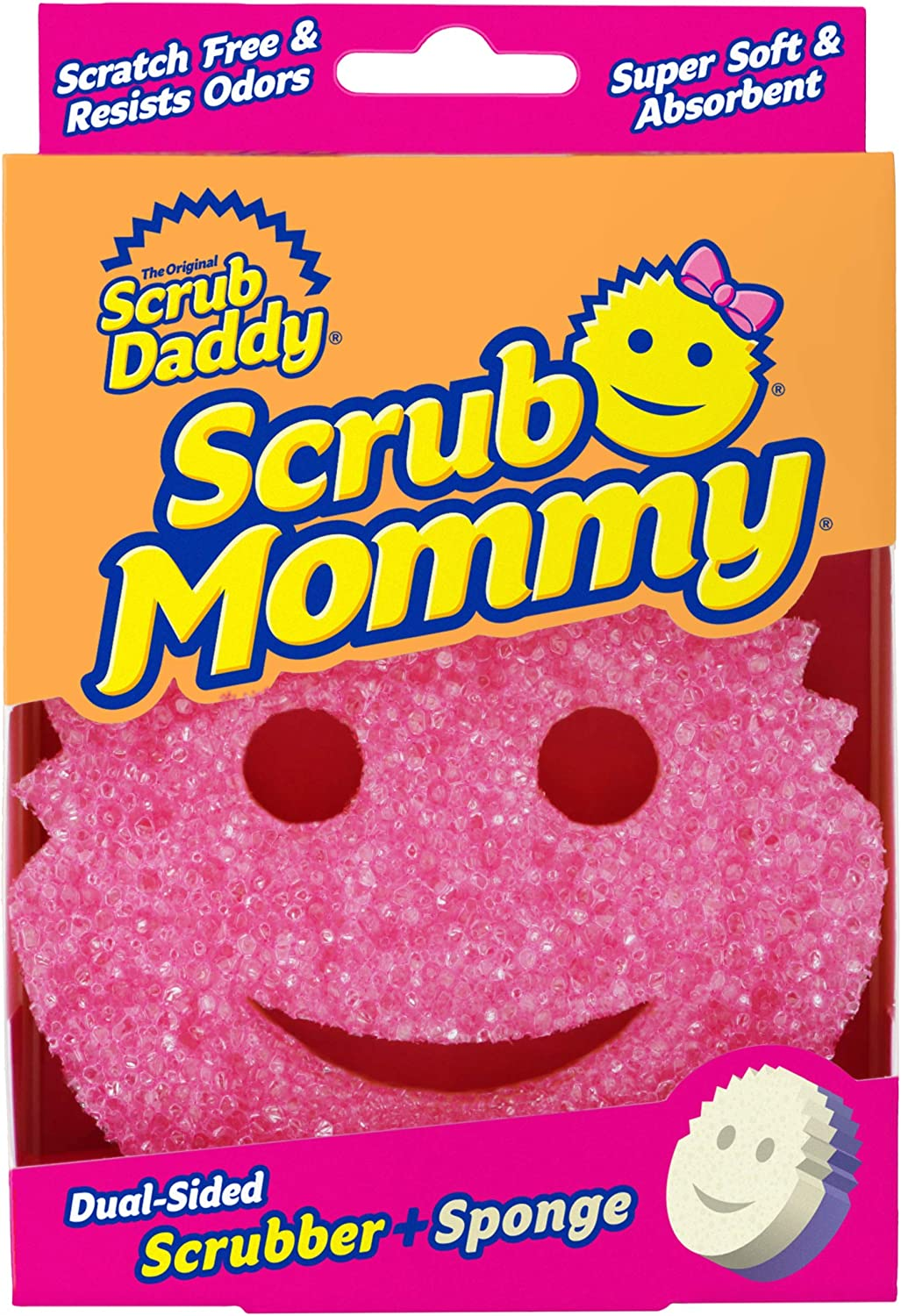 Scrub Daddy, Scrub Mommy - Dual Sided Sponge & Scrubber, Soft in Warm Water, Firm in Cold, FlexTexture, Deep Cleaning, Dishwasher Safe, Multipurpose, Scratch Free, Odor Resistant, Ergonomic (1 Count)