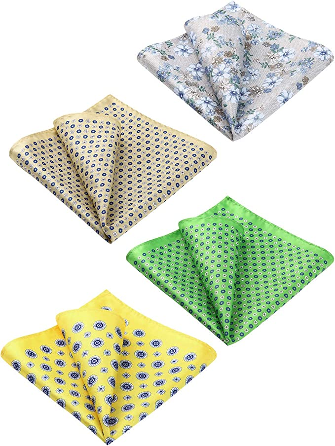 Premium Silk Handkerchiefs for Suits Salmon /& Blue Paisley Mens Pocket Square