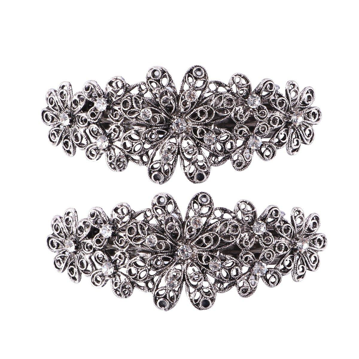 Frcolor 2pcs mariée Pince à cheveux barrette fleur de cristal Pince à cheveux Accessoires Cheveux pour femmes filles