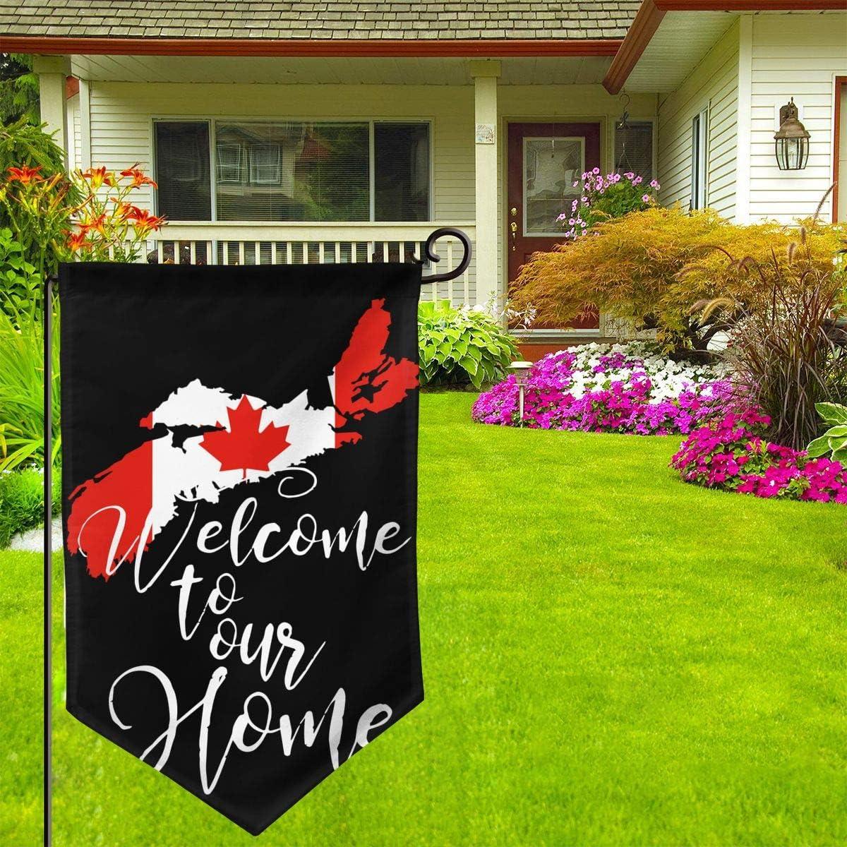 Outdoor Dcor Welcome Home Nova Scotia Canada Map Flag Garden Flag ...