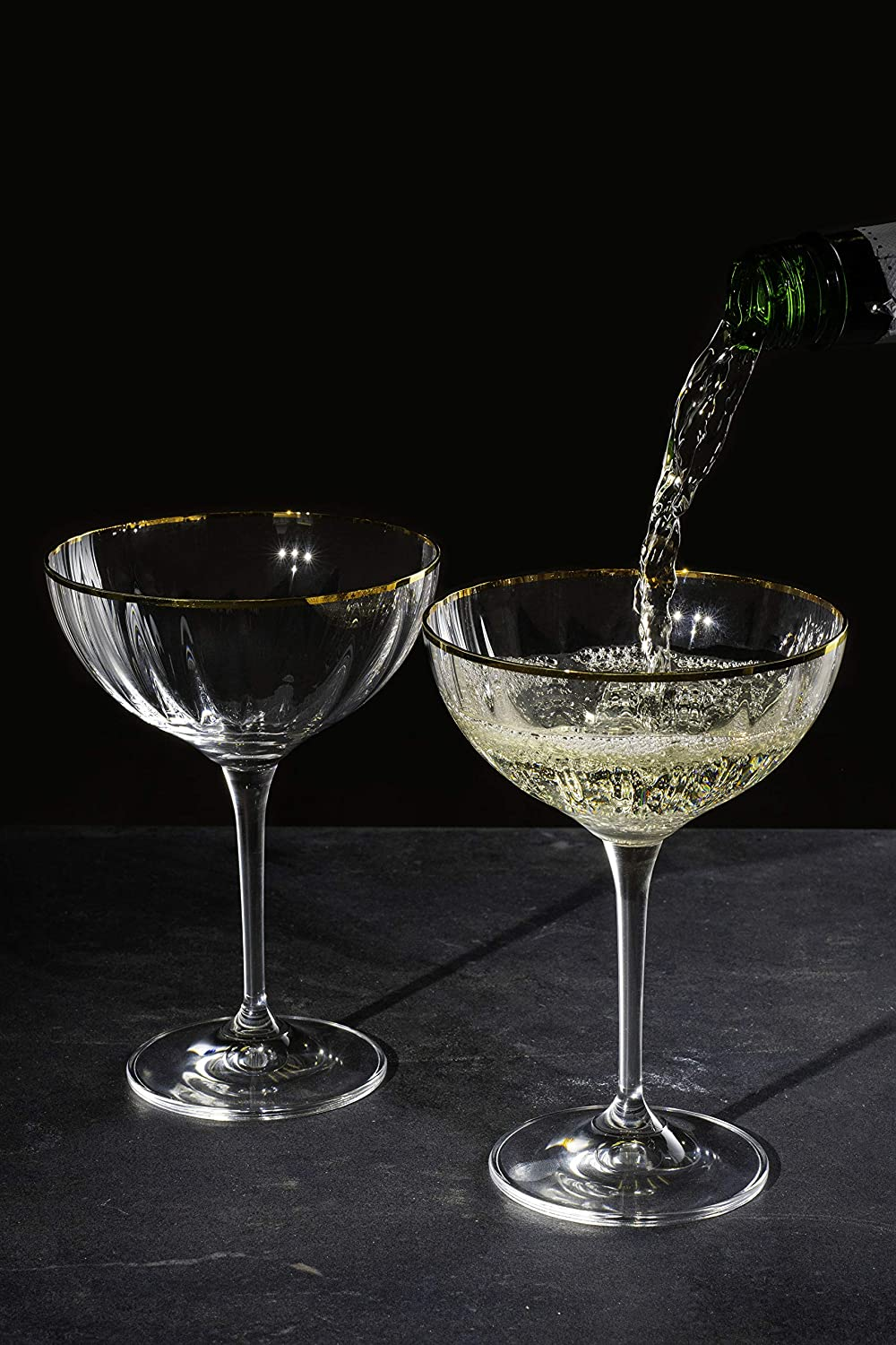 Hand Cut Crystal Set of 6 DIAMANTE Champagne Cocktail Saucers//Coupes /'Mirage Gold/'