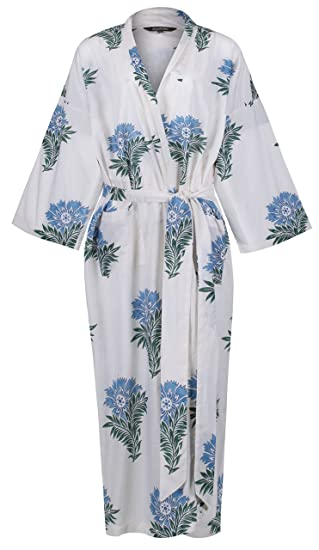 43ce82d44e7 Ladies Lightweight Cotton Dressing Gown - Women s Kimono Robe -  Hand-Printed 100% Organic Cotton - Wild Flower. One Size  UK 10-18   Europe  38-46  ...